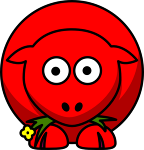 Sheep Red Two Toned Looking Straight Clip Art
