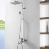 Chrome Finish Contemporary Rotatable Shower Faucet With Rectangle Shower Head And Hand Shower-- Faucetsuperdeal.com Image