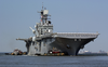 The Amphibious Assault Ship, Uss Bataan (lhd 5) Departs Naval Base Norfolk Today, Before Hurricane Isabel Arrives Image