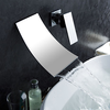 Waterfall Widespread Contemporary Bathroom Sink Faucet Chrome Finish--faucetsuperdeal.com Image