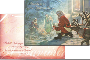 Santa Bowing Down To Baby Jesus Clipart Image