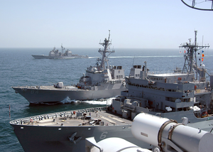 The Military Sealift Command (msc) Fast Combat Support Ship Usns Supply (t-aoe 6) Provides Replenishment Operations With The Guided Missile Destroyer Uss Bulkeley (ddg 84). Image