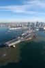 The Decommissioned Aircraft Carrier Midway Prepares To Moor At Its Final Resting Place At Navy Pier Where It Will Become The Largest Museum Devoted To Carriers And Naval Aviation Image