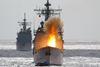 Uss Chancellorsville Fires A Surface-to-surface Standard Missile Image