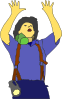 Fireman Asking For Support Clip Art