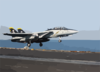 An F-14  Tomcat  From The  Jolly Rogers  Of Fighter Squadron One Zero Three (vf-103) Launches From The Waist Catapult Aboard Uss George Washington (cvn 73) Clip Art
