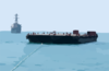 A Tug Pulling Oil Barges Suspected Of Smuggling Illegal Oil Out Of Iraq Is Followed By Uss Hopper. Clip Art