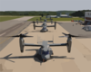 Four V-22 Osprey Aircraft Sit Along The Flight Line With Rotors Turning Before Recent Test Flights Clip Art