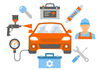 Clipart Man Working On Car Image