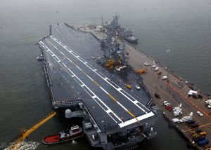 Sailors Man The Rails Aboard The Aircraft Carrier Uss Harry S. Truman (cvn 75). Image