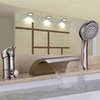 Nickel Brushed Three Holes Single Handle Waterfall Handshower Included Bathtub Faucet With Hand Shower-- Faucetsuperdeal.com Image