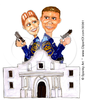 Clipart Illustration Of A Man And Woman Alamo Police Partners Standing Back To Back At The Ready With Guns Image
