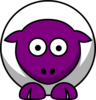 Sheep Looking Straight White With Purple Face And White Nails Clip Art