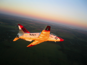 A T-45a Goshawk Assigned To The Golden Eagles Of Training Squadron Twenty Two (vs-22) From Naval Air Station (nas) Kingsville Flies En Route To A Flyover During A Texas A&m Kingsville Football Game Image