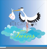 Stork With Twins Clipart Image