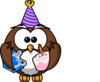 Owl Celebrating Clip Art