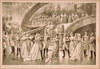 [women In Ball Gowns And Men In Military Uniforms Observing Embracing Couple At Foot Of Staircase] Image