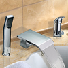 Chrome Finish Contemporary Widespread Two Handles Waterfall Tub Faucet With Handshower-- Faucetsuperdeal.com Image