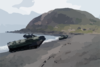 Amphibious Assault Vehicles (aavs) Line The Beach Below Mount Suribachi On The Island Of Iwo Jima Clip Art
