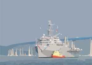 Uss Dubuque (lpd 8) Clears The Coronado Bridge With The Assistance Of A Tugboat. Dubuque Is Returning To Her Homeport Of Naval Station San Diego Clip Art