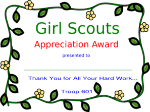Girl Scout Appreciation Award Troop 601 Clip Art
