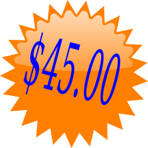 $45 Red Star Price Tag Clip Art