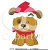 Dog With Santa Hat Clipart Image