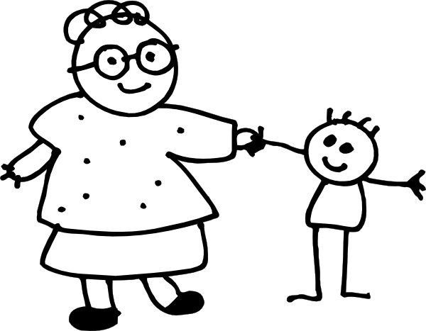 Mom Holding Childs Hand - Outline Clip Art at Clker.com ...