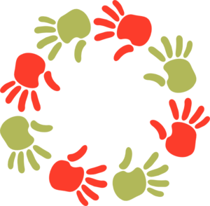Green And Orange Circle Of Hands Clip Art
