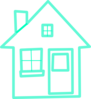 Very Light Turquoise House 2 Clip Art