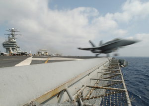 F/a-18 Catapult Launch From Flight Deck. Image