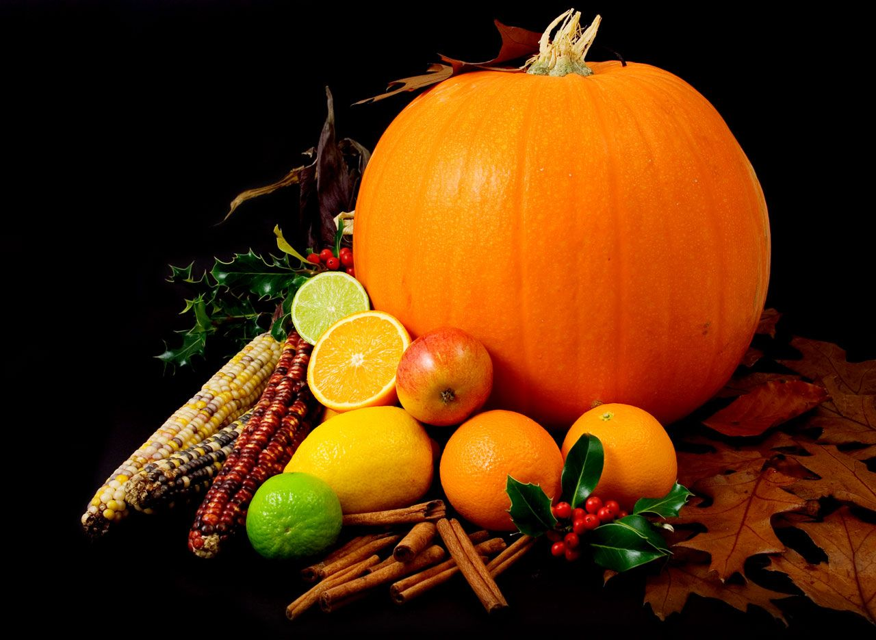 Still Life Picture Of A Pumpkin And Other Various Fruit On