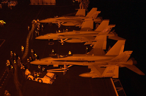 F/a-18 Aircraft Emarked Aboard Uss Nimitz Prepare For Night Operaitons. Image