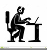 Man Working Desk Clipart Image