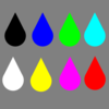 Colored Raindrops Clip Art
