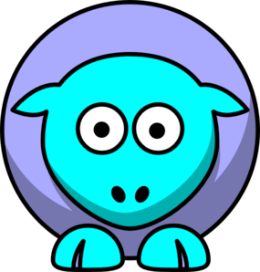Sheep 2 Toned Blues Looking Straight Clip Art
