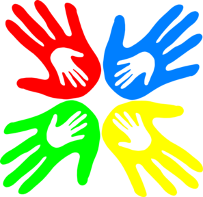 four colored hands 45 degree clip art at clkercom