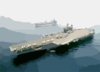 Uss Kitty Hawk In Formation With Hms Brambleleaf Clip Art
