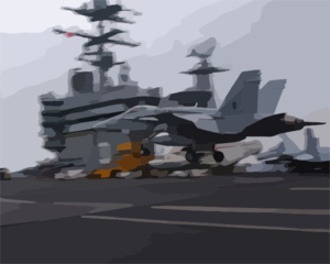 An F/a 18  Hornet   Assigned To The  Gunslingers  Of Strike Fighter Squadron One Zero Five (vfa-105), Performs A  Touch And Go  On The Ship S Flight Deck. Clip Art