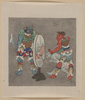 [two Mythological Buddhist Or Hindu Figures, One Holding A Captive And Showing Him An Image In A Magic Mirror Of A Man Falling Off A Boat During A Fight] Image