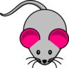 Pink Ear Gray Mouse2 Clip Art