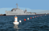 A Newly Installed Buoy-based Security Barrier Stretches Around The Amphibious Transport Dock Ship Uss Denver (lpd 9) As The Ship Takes On Ammunition. Clip Art