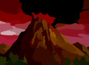 Pacific Northwest Volcano Eruption Vector Colour Contrast Enhance Image