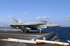 F/a-18 Hornet Makes A Catapult Launch From Uss Kitty Hawk. Image