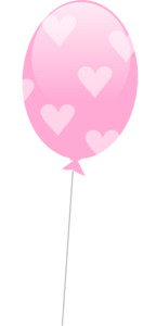 Pink Balloon With Hearts Clip Art