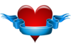 Red Heart With Blank Blue Ribbon Clip Art