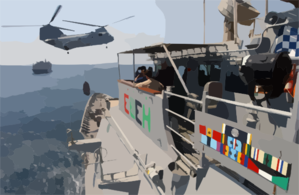 A Ch-46 Sea Knight Helicopter Attached To The Fast Combat Support Ship Uss Bridge (aoe 10), Transfers Supplies To The Guided Missile Cruiser Uss Chosin (cg 65) During A Vertical Replenishment, (vertrep) Clip Art