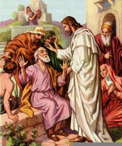 Jesus Healing The Blind Man Clipart Image