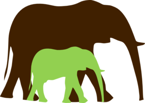 Brown And Green Mom And Baby Elephant Clip Art