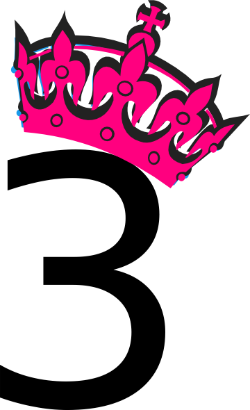 Pink Tilted Tiara And Number 3 Clip Art At Clker Com